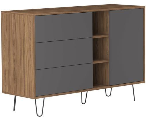 Credenza di design con cassetti Aero, Piedini: metallo, verniciato, Grigio, albero di noce, Larg. 120 x Alt. 80 cm
