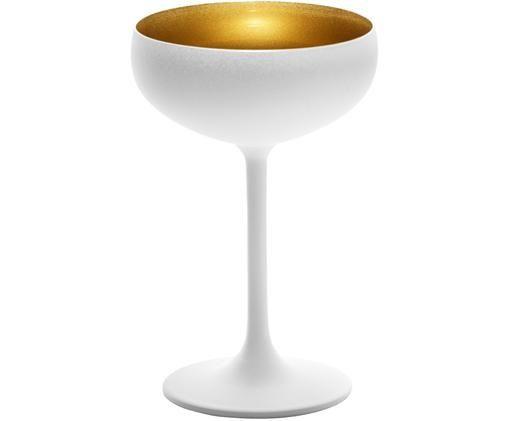 Kristall-Champagnerschalen Elements in Weiß/Gold, 6er-Set