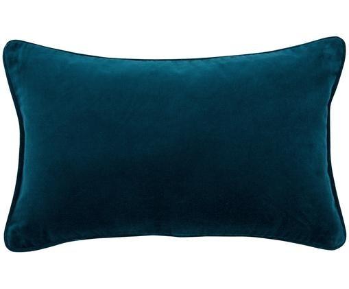 Federa arredo in velluto Dana, 100% velluto di cotone, Blu petrolio, Larg. 30 x Lung. 50 cm