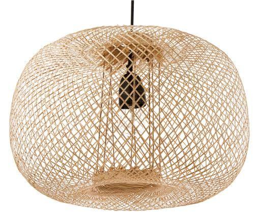 Lampada a sospensione Bamboo, Paralume: legno di bambù Baldacchino: nero