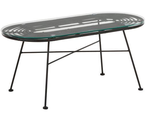Tavolo basso da giardino Sola, Piano d'appoggio: bicchieri, spessore, Struttura: metallo, verniciato a pol, Nero, Larg. 100 x Prof. 45 cm