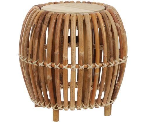 Stolik pomocniczy z rattanu Minou, Rattan, Brązowy, Ø 39 x W 40 cm