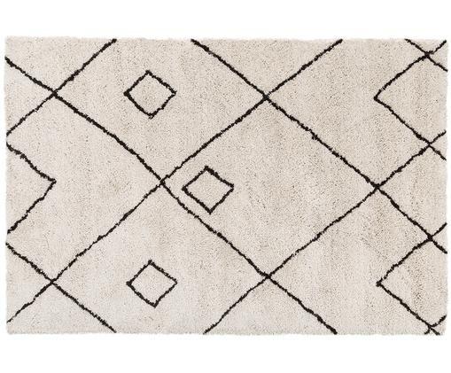 Alfombra artesanal Sadia, Beige, negro