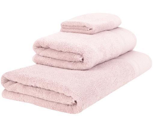 Handtuch-Set Premium mit klassischer Zierbordüre, 3-tlg., Altrosa, Verschiedene Grössen
