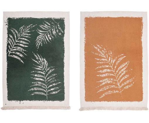 Set canovacci Zottka, 2 pz., Cotone, Verde, marrone ruggine, bianco latteo, Larg. 50 x Lung. 70 cm