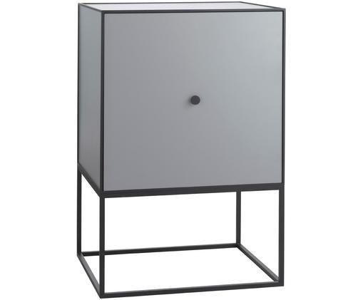 Credenza di design Frame, Struttura e cornice: nero Corpo: grigio scuro, Larg. 49 x Alt. 77 cm