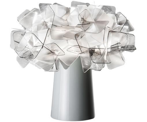 Design-Tischleuchte Clizia, Lampenschirm: Technopolymere Lentiflex®, Lampenfuß: Stahl, beschichtet, Transparent, Hellgrau, Ø 27 x H 25 cm