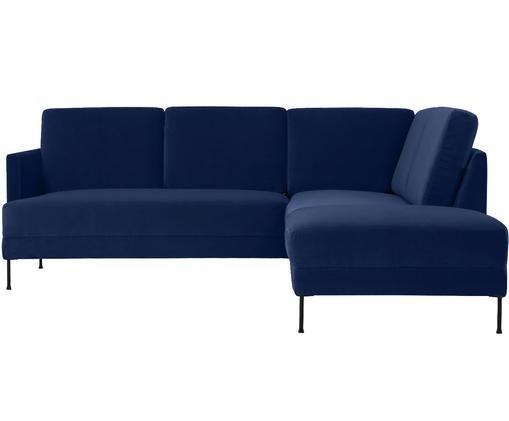 Sofá rinconero de terciopelo Fluente, Tapizado: terciopelo (tapizado de p, Estructura: madera de pino maciza, Patas: metal lacado, Azul oscuro, An 221 x F 200 cm