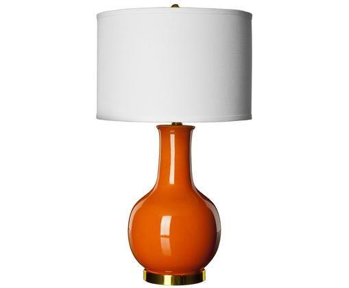 Große Tischleuchte Lina, Lampenschirm: Textil, Lampenfuß: Keramik, Orange, Ø 38 x H 70 cm