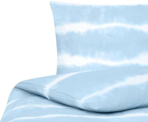 Pościel z bawełny renforcé Flow, Niebieski, biały, 135 x 200 cm