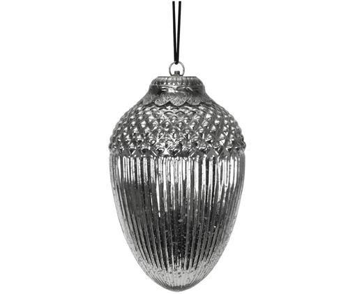 Ghianda decorativa XL in vetro Acorn, Vetro verniciato, Argento, Ø 20 x A 33 cm
