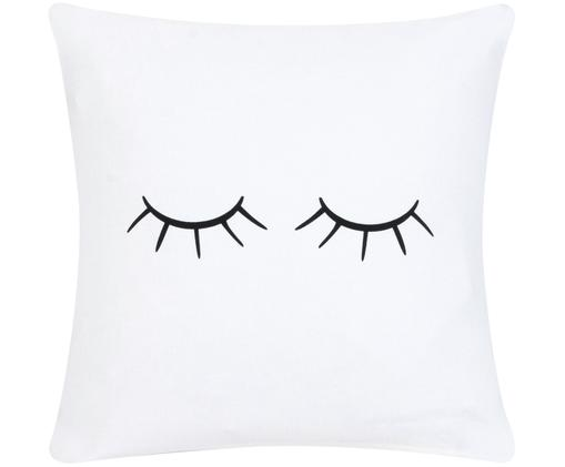 Housse de coussin Sleepy Eyes, Blanc, noir