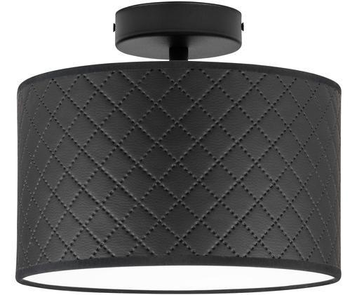 Plafondlamp Trece uit leer, Lampenkap: leer, Baldakijn: gepoedercoat metaal, Zwart, Ø 25 x H 20 cm