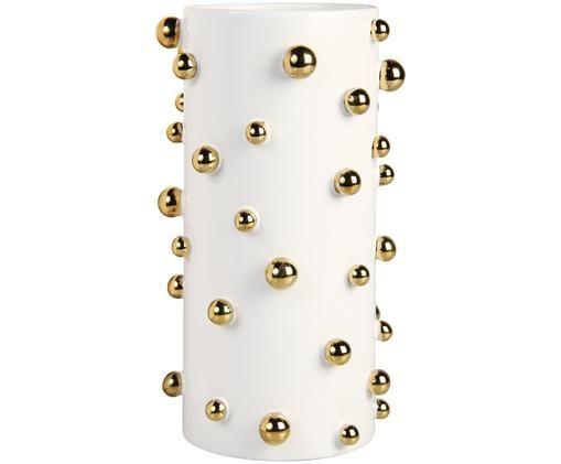 Keramik-Vase Orbs, Keramik, Weiß, Goldfarben, Ø 14 x H 24 cm