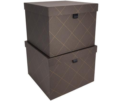 Set scatole custodia Tristan, 2 pz., Dorato, grigio scuro
