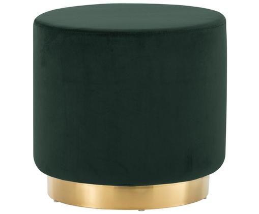 Puf de terciopelo Orchid, Tapizado: terciopelo (poliéster) 15, Estructura: tablero de fibras de dens, Verde oscuro, dorado, Ø 40 x Al 39 cm