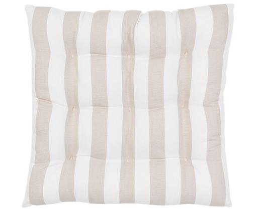 Cojín de asiento Parasol, Funda: 100%algodón, Gris pardo, blanco, An 40 x L 40 cm