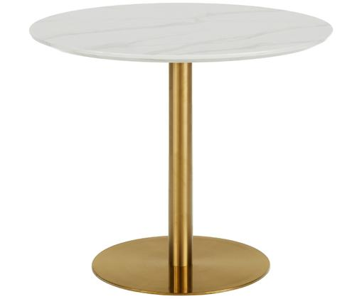 Stół do jadalni Karla, Blat: płyta pilśniowa średniej , Blat: biały, marmurowy Noga stołu: odcienie złotego, matowy, Ø 90 x W 75 cm
