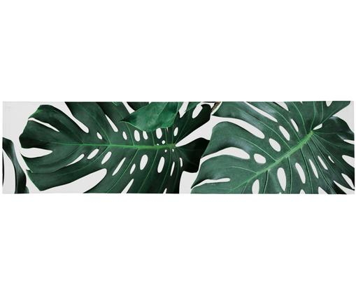 Runner da tavolo Monstera, Poliestere, Verde, bianco, Larg. 40 x Lung. 150 cm