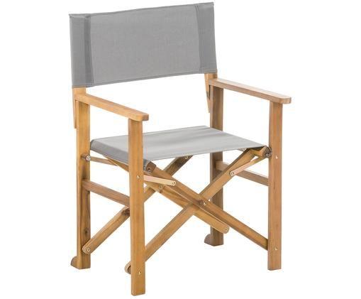 Krzesło reżysera Zoe, Stelaż: drewno akacjowe, olejowan, Szary, S 52 x G 58 cm