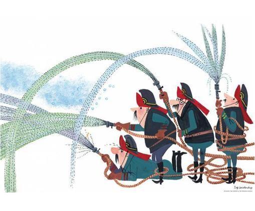Poster Fire Brigade, Carta, Multicolore, Larg. 59 x Alt. 42 cm