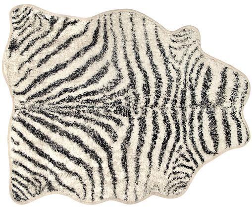 Pluizige badmat Zebra, antislip, Crèmekleurig, donkergrijs