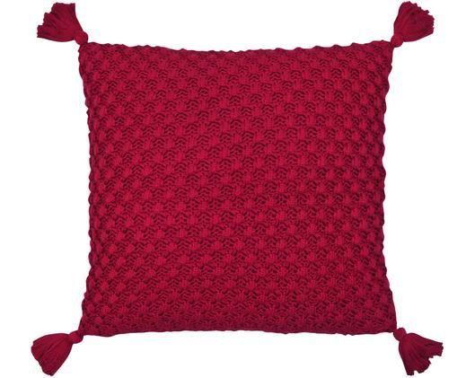 Housse de coussin en tricot rouge avec houppes Astrid, Rouge