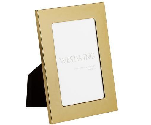 Cornice Memory, Cornice: ferro, lucido verniciato, Retro: pannelli di fibra a media, Dorato, 10 x 15 cm