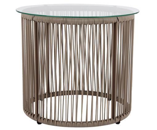 Tavolino con piano in vetro Bahia, Piano d'appoggio: vetro, spessore, Struttura: alluminio verniciato a po, Piano d'appoggio: trasparente Lati e struttura: taupe, Ø 50 x Alt. 45 cm