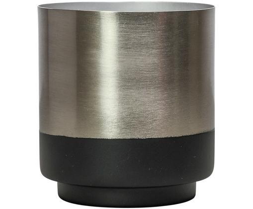 Osłonka na doniczkę Aria, Stal częściowo lakierowana, Odcienie srebrnego, czarny, Ø 10 x W 11 cm