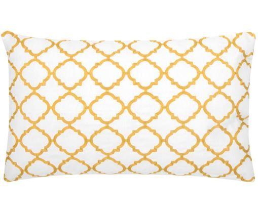 Kissenhülle Lona mit Stickerei, Baumwolle, Weiß,Gelb, 30 x 50 cm