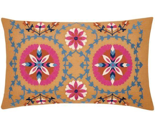 Housse de coussin brodée Tabula, Jaune, multicolore