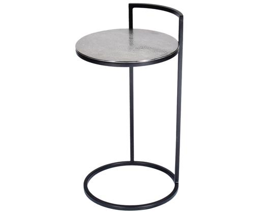 Runder Beistelltisch Circle aus Metall, Tischplatte: Metall, beschichtet, Gestell: Metall, lackiert, Silber, Schwarz, Ø 36 x H 66 cm