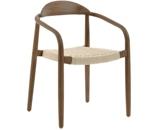 Sedia con braccioli in legno massiccio Nina, Struttura: legno di eucalipto massic, Seduta: poliestere resistente ai , Beige, marrone, Larg. 56 x Prof. 53 cm