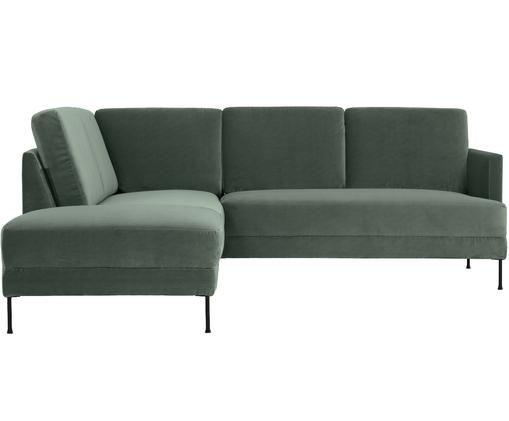 Sofa narożna z aksamitu Fluente, Tapicerka: aksamit (wysokiej jakości, Stelaż: lite drewno sosnowe, Nogi: metal lakierowany, Zielony aksamit, S 221 x G 200 cm