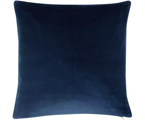 Federa arredo in velluto in blu navy Alyson, Velluto di cotone, Blu marino, Larg. 40 x Lung. 40 cm