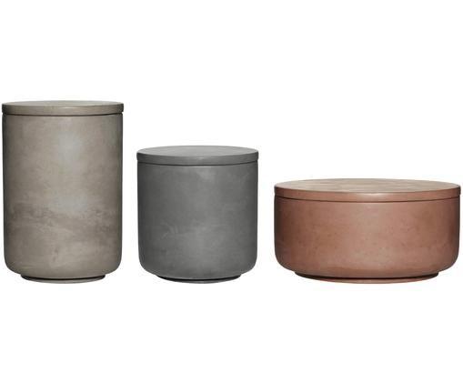 Aufbewahrungsdosen-Set Tomoe, 3-tlg., Zement, Rosa, Hellgrau, Dunkelgraz, Verschiedene Grössen