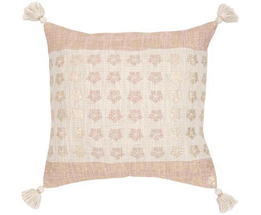 Poszewka na poduszkę Isabelle z chwostami, 100% bawełna, Beżowy, blady różowy, odcienie złotego, S 45 x D 45 cm