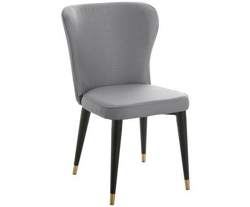 Klassischer Polsterstuhl Cleo, Bezug: Polyester 50.000 Scheuert, Beine: Metall, pulverbeschichtet, Grau, 51 x 85 cm