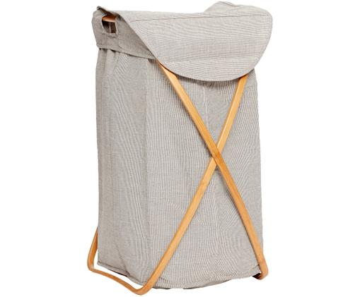 Cesto portabiancheria Maya, Struttura: bambù, Portabiancheria: grigio chiaro Struttura: beige, L 39 x A 66 cm