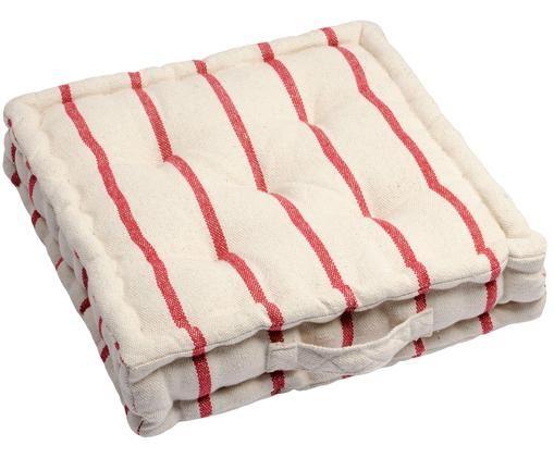 Coussin de sol Pampelonne, Rouge, blanc cassé