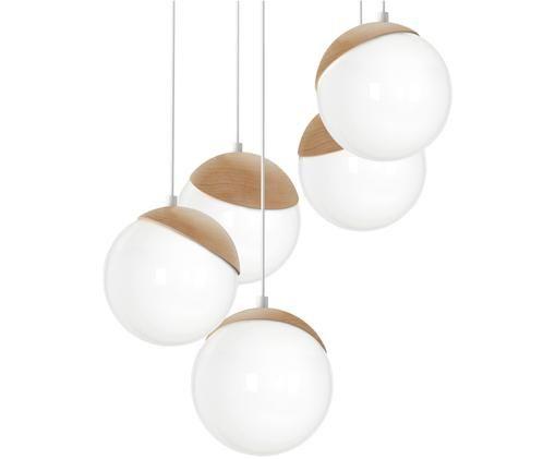 Lampada a sospensione in vetro opale Sfera, Paralume: vetro opale, Baldacchino: metallo rivestito, Bianco opalino, marrone, Ø 35 x Alt. 90 cm