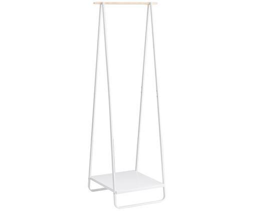Appendiabiti in metallo Tower, Acciaio rivestito, legno, Bianco, pineta, Larg. 52 x Alt. 140 cm