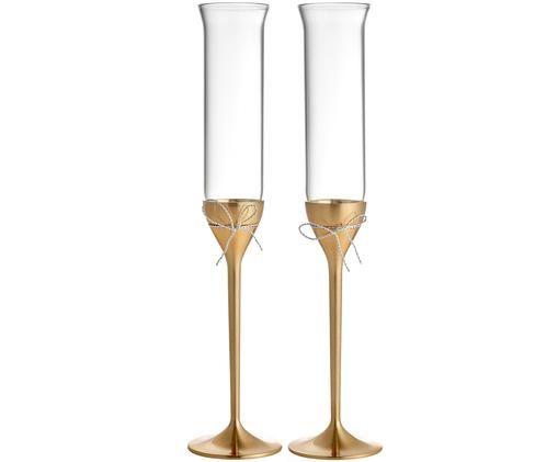 Flute champagne  Love Knots 2 pz, Arco: metallo, argentato, Dorato, trasparente, Ø 6 x Alt. 27 cm