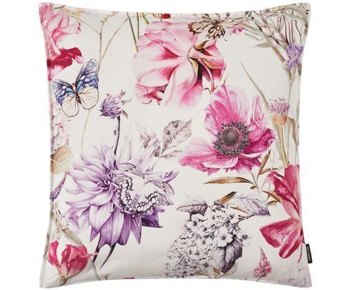 Poszewka na poduszkę Flower, Bawełna, Odcienie różowego, odcienie fioletowego, kremowy, D 40 x S 40 cm