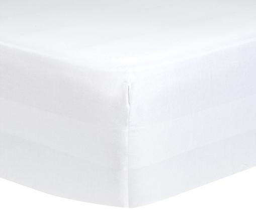 Lenzuolo con angoli per il letto continentale Comfort, raso di cotone, Bianco, Larg. 180 x Lung. 200 cm