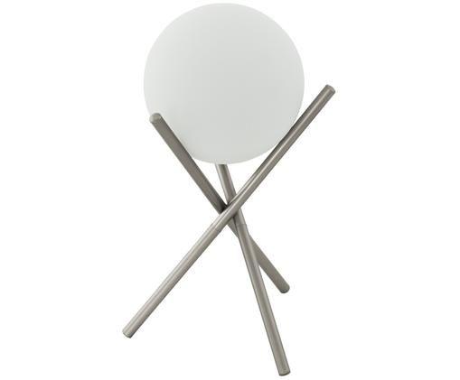 Lampada da tavolo in vetro opale Castellato, Base della lampada: acciaio, verniciato, Paralume: vetro opale, Champagne, bianco, Ø 21 x Alt. 33 cm