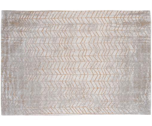 Tappeto J. Ladder in grigio con motivo a zigzag dorato, Tessuto: Jacquard, Retro: Miscela di cotone, rivest, Tonalità grigie, bianco latteo, dorato, Larg. 170 x Lung. 240 cm (taglia M)