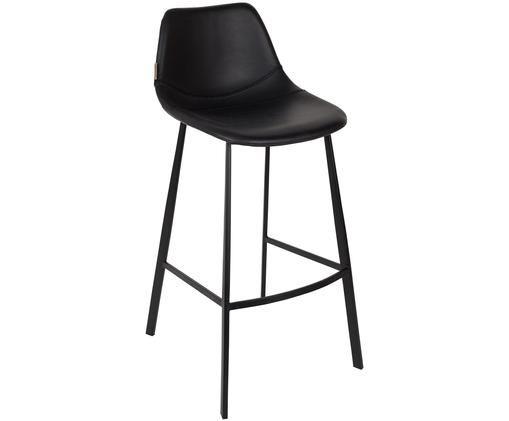 Chaise de bar en cuir synthétique Franky, Revêtement: noir à l'aspect usé Pieds: noir