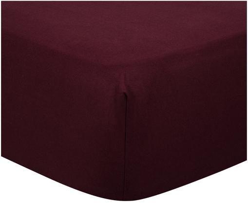 Lenzuolo con angoli Biba, flanella, Tessuto: flanella, Rosso scuro, Larg. 90 x Lung. 200 cm